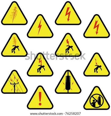 Realistic electrical sign set - stock photo
