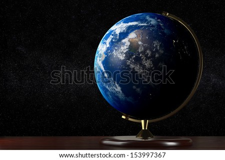 Realistic globe on a table with the space on background NASA Images used in Composites: world.topo.bathy.200412.3x21600x10800, cloud_combined_8192.tif, dnb_land_ocean_ice.2012.13500x6750 - stock photo