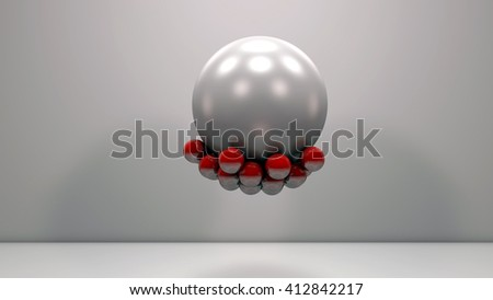 Realistic glossy red plastic balls magnetically attached on a large pearly sphere. Technology abstract composition. Depth of field settings. 3d rendering. - stock photo