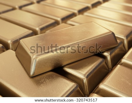 Realistic gold bars. 3D illustration - stock photo