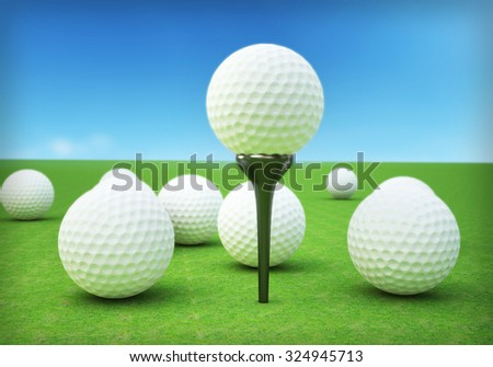 Realistic golf ball on course background blue sky . - stock photo