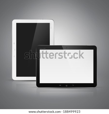 Realistic high detailed illustration of tablet computer on dark background. - stock photo