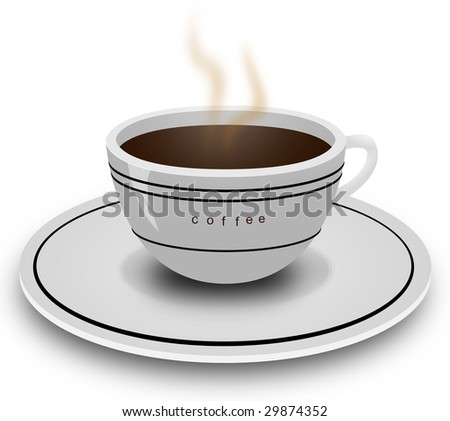 realistic illustration of a coffee cup and plate. - stock photo