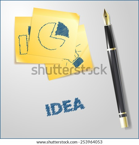 Realistic illustration of golden pen with sketches on yellow paper notes - stock photo