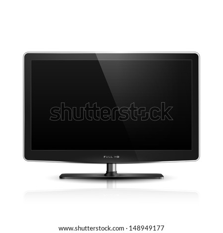 Realistic illustration of high definition TV screen. - stock photo