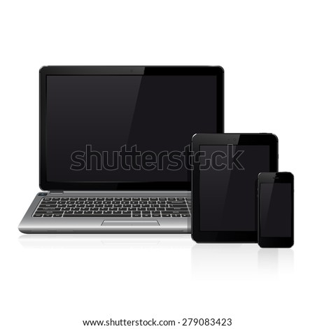Realistic laptop, tablet computer and smartphone template - stock photo