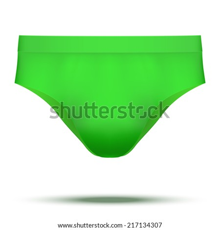 Realistic layout of Male green underpants brief. A template simple example. Illustration isolated on white background. - stock photo