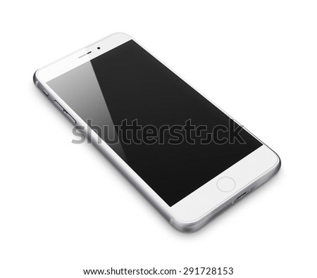 Realistic mobile phone iphon style mockup with blank screen isolated on white background. Highly detailed illustration. - stock photo