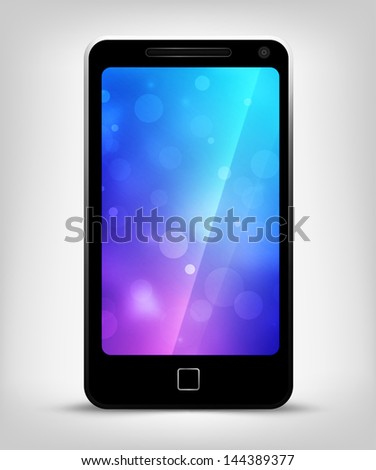 Realistic mobile phone with bokeh background on screen - stock photo