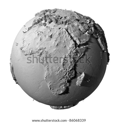 Realistic model of planet earth isolated on white background - africa, 3d illustration - stock photo
