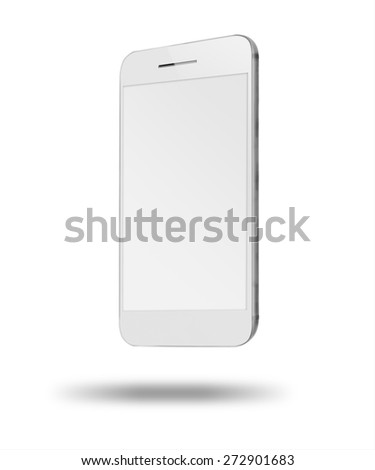 Realistic modern touchscreen phone iphon style mockup. With light shadows under smartphone. Isolated on white background. Empty screen. Highly detailed illustration. - stock photo