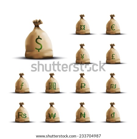 Realistic Money Bags with currency symbols isolated on white - stock photo