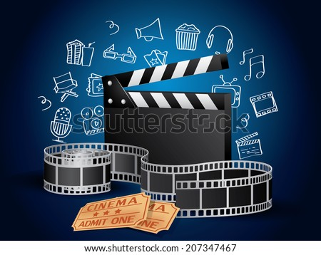 Realistic Movie Elements with Doodle - stock photo