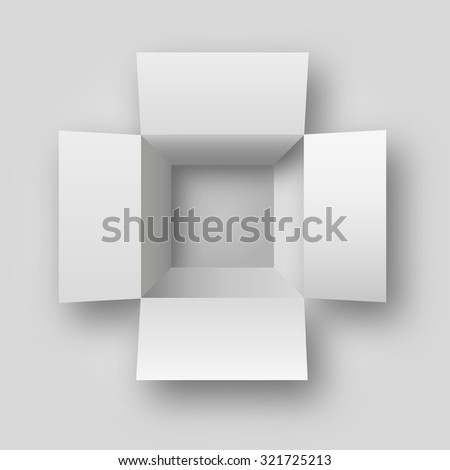 realistic opened white box top view illustration - stock photo