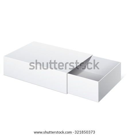 Realistic Package Cardboard Sliding Box Opened. For small items, matches, and other things.  - stock photo