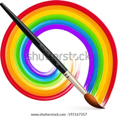 Realistic paintbrush with acrylic painted rainbow - stock photo