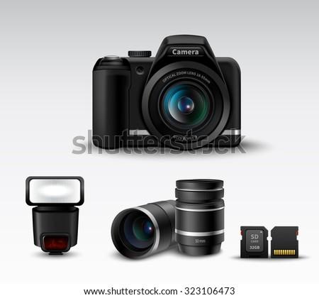 Realistic photo camera and flash lens sd card accessory set  illustration - stock photo