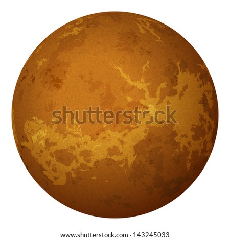 Realistic planet Venus isolated on white background. Elements of this image furnished by NASA (http://solarsystem.nasa.gov) - stock photo