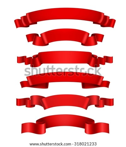Realistic red 3d waving decorative ribbon banners set isolated  illustration - stock photo