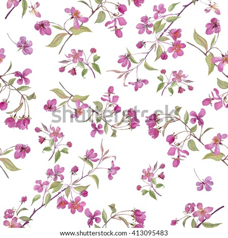 Realistic sakura japan cherry branch with blooming flowers. Nature background with blossom branch of pink sakura flowers. Isolated pattern on white background. - stock photo