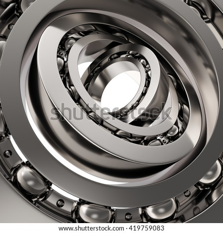 Realistic silver whirling bearing in the bearing white background. 3d iilustration - stock photo