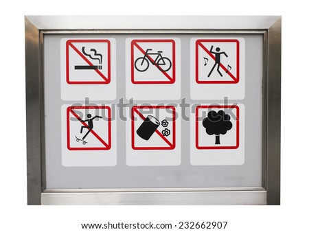 Realistic Six safety caution prohibit sign in the aluminium frame : All including no smoking, No cycles, No dancing, No trash, No skate and tree. - stock photo