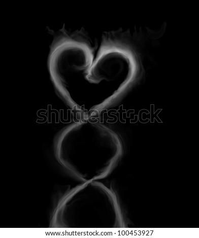 Realistic Smokey Heart Isolated on Black - stock photo