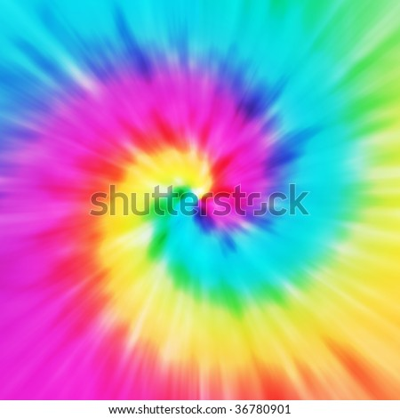 Realistic spiral tie-dye illustration in a variety of colors - stock photo