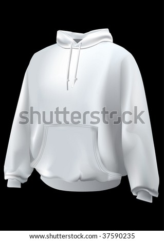 Realistic sweatshirt  or hoodie with front pocket.Mesh used. - stock photo