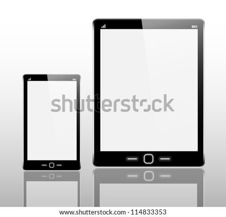 Realistic tablet computer and mobile phone on white background. Check my portfolio for vector version. - stock photo