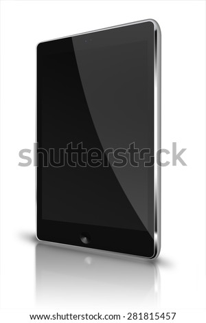 Realistic tablet computer ipad style mockup with black screen and reflection isolated on white background. Highly detailed illustration. - stock photo