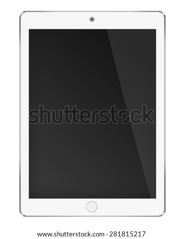Realistic tablet computer ipade style mockup with black screen isolated on white background. Highly detailed illustration. - stock photo