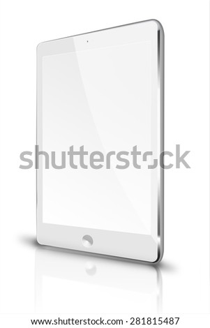 Realistic tablet computer ipade style mockup with blank screen and reflection isolated on white background. Highly detailed illustration. - stock photo