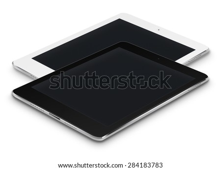 Realistic tablet computers ipad style mockup with black screens isolated on white background. Highly detailed illustration. - stock photo