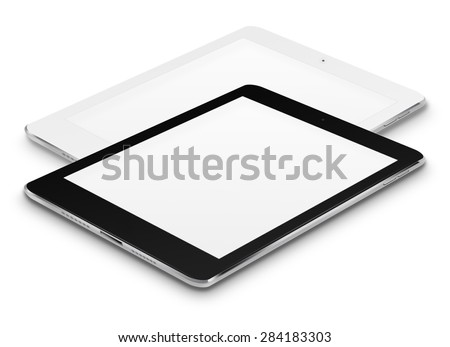Realistic tablet computers ipad style mockup with blank screens isolated on white background. Highly detailed illustration. - stock photo