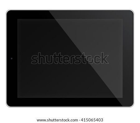 Realistic tablet pc computer in ipade style with black screen isolated on white background. 3D illustration. - stock photo