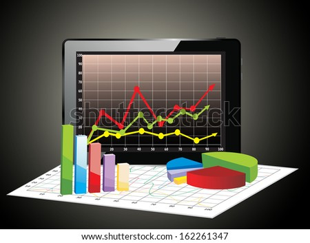 Realistic tablet pc computer with spreadsheet and a paper with statistic 3d charts - stock photo