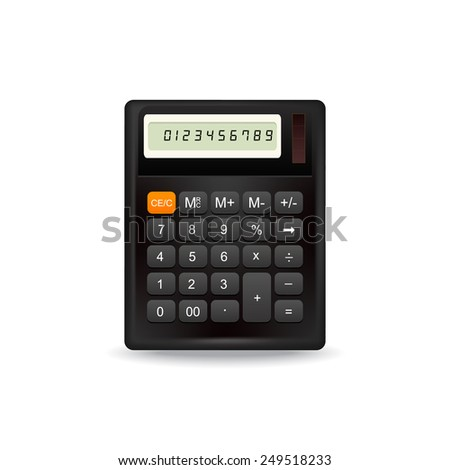 Realistic top view electronic calculator isolated on white background. - stock photo