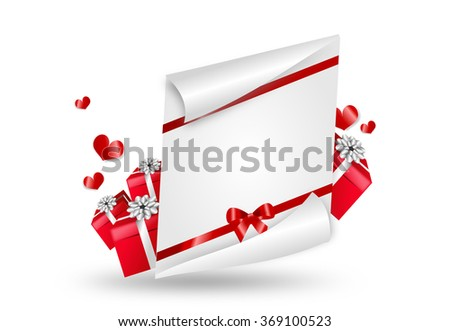 Realistic valentine's letter illustration decorated with red hearts and gifts - stock photo