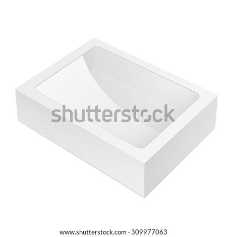 Realistic White Black Package Box lying with a transparent plastic window. For Software, electronic device and other products. - stock photo