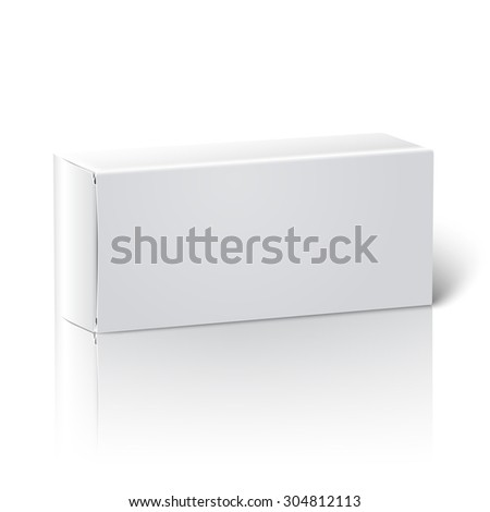 Realistic white blank paper package box. Isolated on white background with reflection, for design and branding.  - stock photo