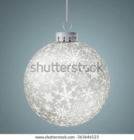 Realistic white Christmas ball. Raster version. - stock photo