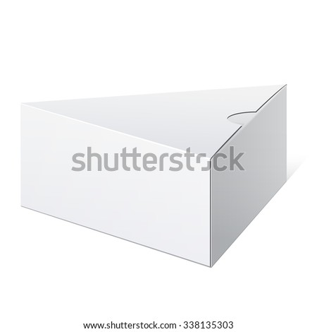 Realistic White Package triangular shape Box. For Software, electronic device and other products. - stock photo
