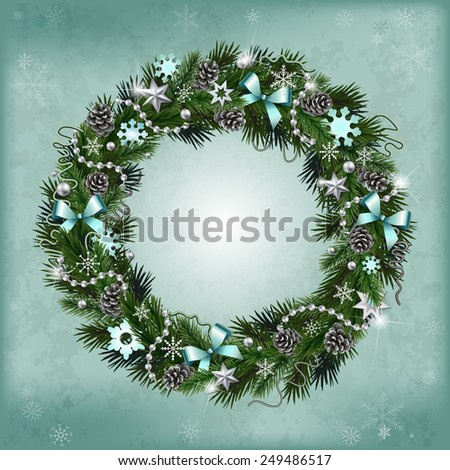 Realistic wreath of fir branches with elements for Christmas and New Year design: snowflakes, branches, pine cones, ribbons, stars, garlands, beads - stock photo