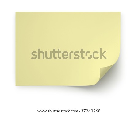 Realistic yellow Post It page curl on white background with soft shadow - stock photo