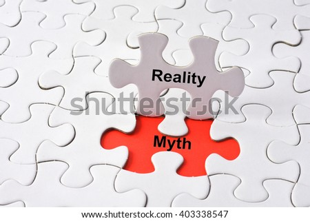 Reality and Myth on missing puzzle - stock photo