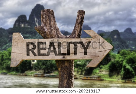 Reality wooden sign with a forest background - stock photo