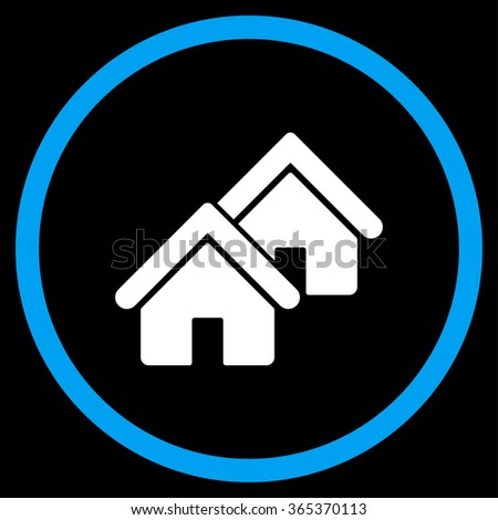 Realty glyph icon. Style is bicolor flat circled symbol, blue and white colors, rounded angles, black background. - stock photo