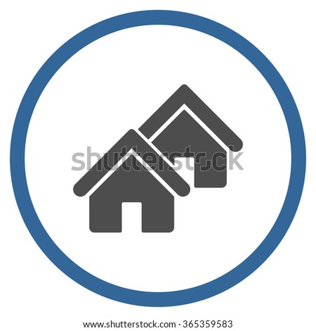 Realty glyph icon. Style is bicolor flat circled symbol, cobalt and gray colors, rounded angles, white background. - stock photo