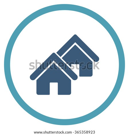 Realty glyph icon. Style is bicolor flat circled symbol, cyan and blue colors, rounded angles, white background. - stock photo